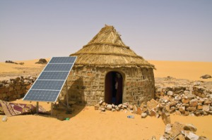 08 Apr 2010, Algeria --- Traditional house with a solar panel in the Sahara Desert, Algeria, North Africa, Africa --- Image by © Michael Runkel/Robert Harding World Imagery/Corbis